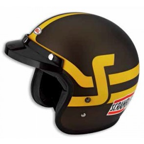 Casco jet Short Track. Marrón